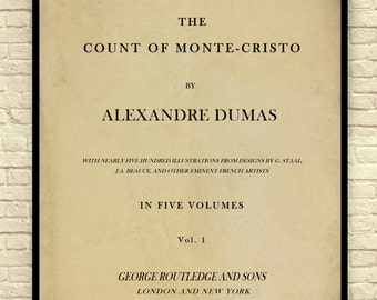 Classic Book Page, The Count of Monte Cristo, Alexandre Dumas, Introduction Page, Book Page Art, Book Page Art Print, Classic Literature