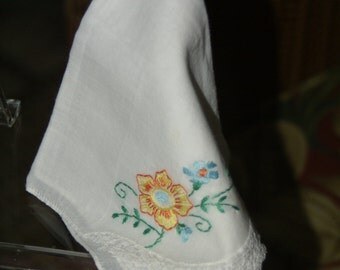 Vintage Handkerchief Yellow Floral
