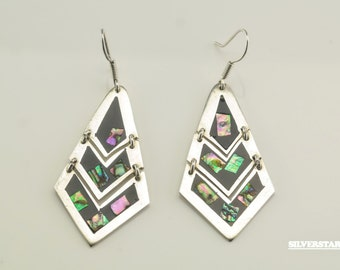 Sterling Silver Pyramid Abalone Shell Earrings