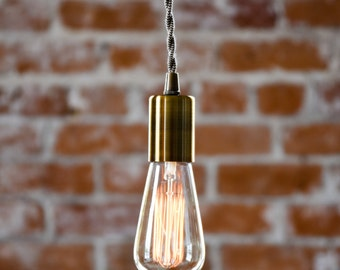 Free Shipping! Antique Brass Industrial Plug In Pendant Light Bare Bulb Socket Brass Edison Bulb Canopy Rayon Cloth Covered Black Brown Wire