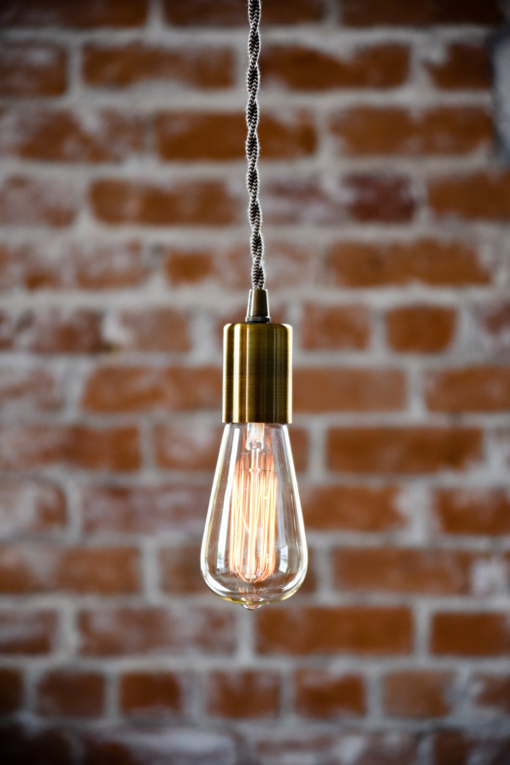 antique brass industrial plug in pendant light bare bulb socket brass edison bulb canopy rayon cloth covered black brown wire