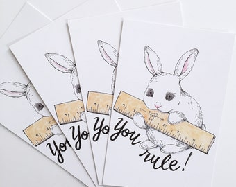 You Rule Bunny Rabbit Holding Ruler Postcard Pack of 4
