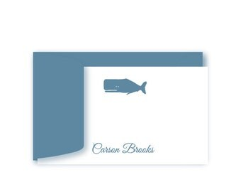 Personalized Birthday Gift Enclosure Cards, Set of 10, Whale