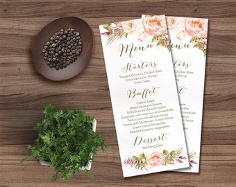 Printable Wedding Menu, Floral Wedding Menu Card Printable, Rustic Wedding Menu, Modern Pink Peony Wedding Menu, Digital File