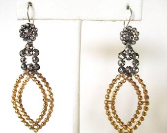 Pair of Vintage Cut Steel & Brass Earring