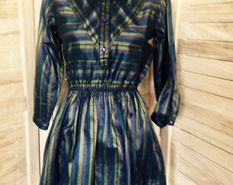 Navy and Green Striped Silk Dress - 1980's