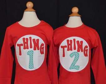 Personalized Cousin 1 or Cousin 2  or Cousin 3...Thing 1 or Thing 2 or Thing 3... Applique Shirt or Onesie Girl or Boy - 1 SHIRT