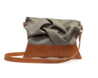 Brown Cross Body Bag, Boho Chic Messenger, Tan Vegan Crossbody Bag,Sand Crossbody Purse,Vegan Messenger Bag,Brown Messenger,Faux Leather Bag