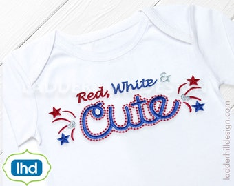 Red White and Cute -- Independence Day Fourth of July Embroidery Design ID001