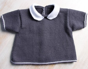 Baby Tunic / Instructions in English PDF Instant download / 3 Sizes :  Newborn - 3 months / 6 - 9 months / 12 - 18 months
