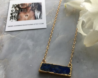 Lapis | Gold Bar Necklace