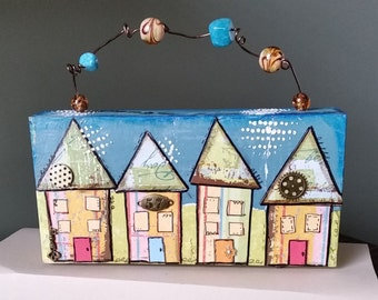 Whimsical Mixed Media Houses, 4x8 Altered Wood Block, Beaded Handle, Tropical Colors, Home Decor, One of a Kind, Collage art, Bookcase Decor