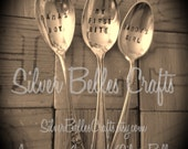 Baby spoons Stamped, personalized baby spoons with names or saying, upcycled silverware stamped, customizable stamped sayings on baby spoons