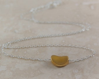Gold Bean Necklace, Gold Pendant, Coffee Bean, Sterling Silver, Bean Pendant, Delicate Necklace, Small Pendant, Gold Heart, Dainty Necklace