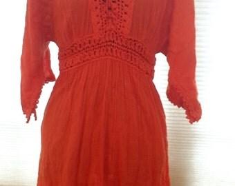 Gorgeous Orange 90s Hippie Dress