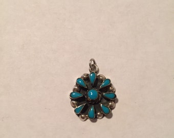 Turquoise Sterling Flower Pendant Petit Point Floral 925 Silver Charm 4 Necklace Vintage Southwestern Jewelry Christmas Gift