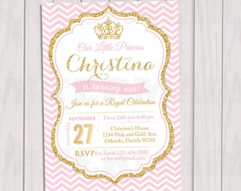 Pink and Gold Princess Birthday Invitation, Chevron Invitation, Girl invite, Gold Glitter invitation, Printable invite