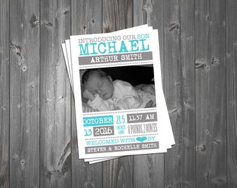 Birth Announcement, Newborn Birth Announcement, Boy Birth Announcement, Blue Birth Announcement