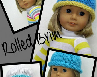 Custom 18 inch doll clothes AG doll clothes doll hat rolled brim ribbon beanie striped beanie hat cloche ribbon hat rolled brim cloche