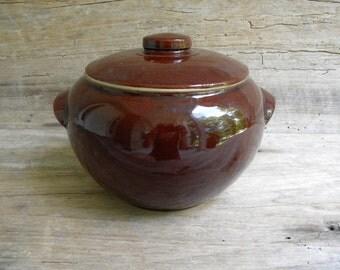 Vintage Covered Brown Bean Pot / Rustic Bean Pot / Brown USA Pottery / Rustic Covered Brown Crock