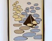 Vintage MCM Alexander Calder Black Pyramid Geometric Needlepoint Modern Art Picture