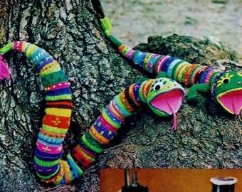Snake and Salamander Toys Vintage Knitting Pattern Instant Download