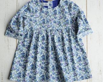 Floral Girls Dress Bottom Frill Long Sleeve / Blue