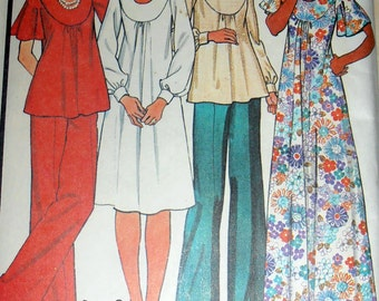 70s Misses Dress  or Top and Pants, McCalls 5395 Sewing pattern, Pounds Thinner Pattern, Size 14 bust 36, 1976 clothing, Epsteam