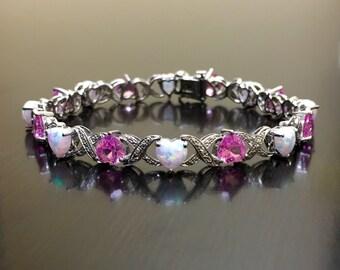 Sterling Silver Pink Topaz Opal Heart Bracelet - Heart Opal Bracelet - Pink Topaz Bracelet - Heart Bracelet - Silver Bracelet - Opal Jewelry
