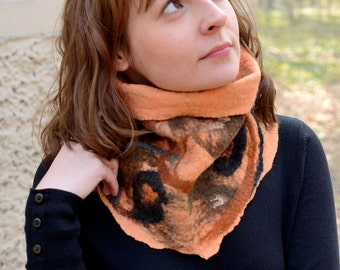Apricot cowl scarf or neck warmer felted of natural merino wool - one size neckwarmer with modern design, fiber art accessories [IS37]
