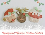 FESTIVE FELTIES PDF Pattern - felt Christmas decorations, ornaments, gift tag pattern, Mouse, Reindeer, Christmas Cupcake