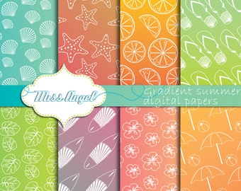 Summer Gradient digital papers. Summer Sheets. Surf backgrounds. Beach, Surf, Hawaii, Hibiscus, Surfboards printable. MissAngelClipart