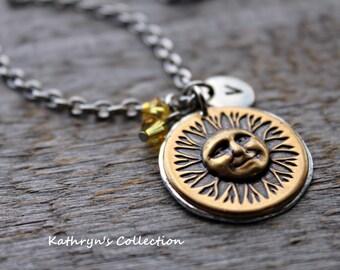 Sunshine Necklace, Sunshine Jewelry, Sun Necklace, You Are My Sunshine, Hello Sunshine, Celestial Jewelry