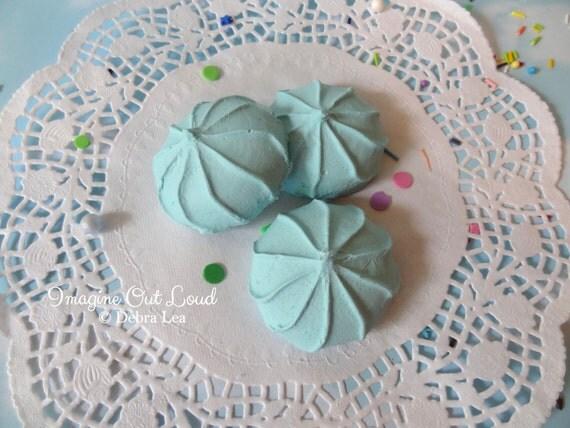 FAUX Cookie Meringue Pale Aqua Set Fake Food Prop Photo Pastel Kitchen Decor Display