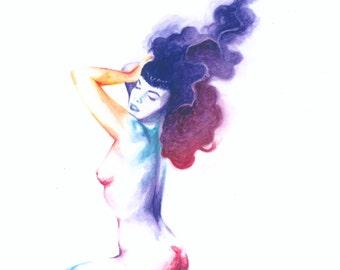 Retro Vintage Pin-Up Watercolor Giclée Print