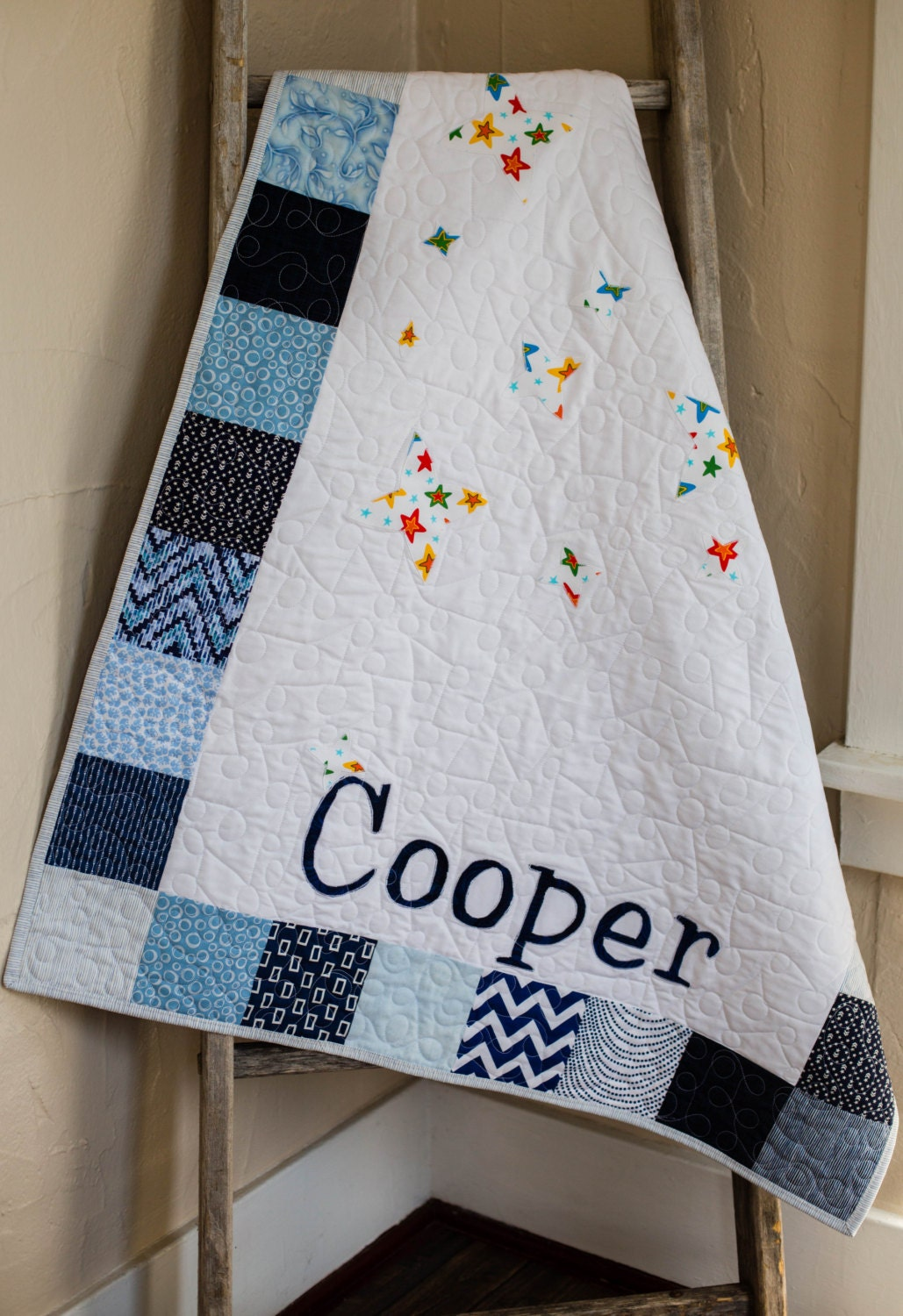 Personalized Modern Handmade Baby Quilt For Sale