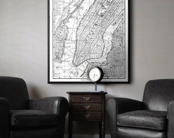 New York Map Print poster : Black and white style vintage New York City map print