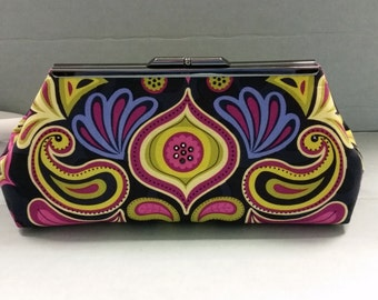 Violet Purple, Green and Black Swirl Design Fabric Clutch Bag. Black Crystal Embellishments. Black Metal Purse Clasp. From MDS Creative.