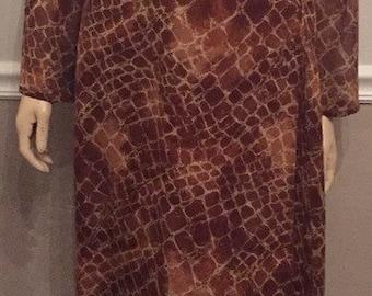 Elegant Vintage Louis Ferand brown and gold silk dress / size 16 / XL