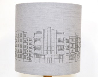 Grey Linen Deco Building Drum Lampshade - handmade lampshade - home decor - fabric shade - Brighton Lampshade - decor lighting