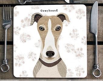 Greyhound personalised dog Placemat/Coaster