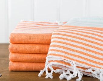 S A L E, Reef Turkish Towel, Peshtemal, Beach Towel, Hammam Towel, Orange and Mint