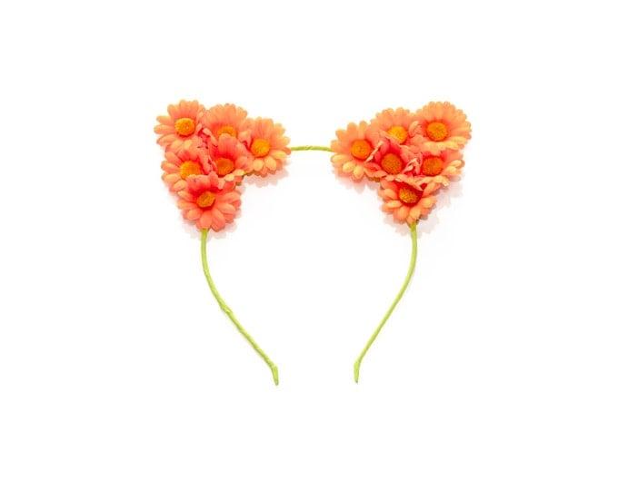 Neon Orange Cat Ear Headband