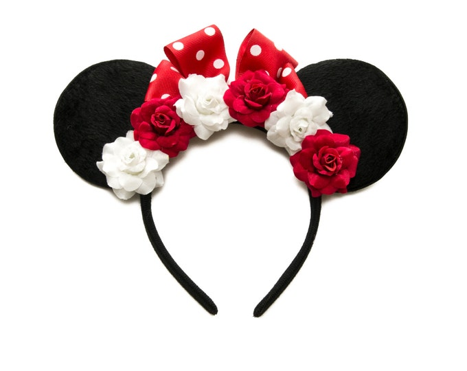 Red White Mouse Ears Headband