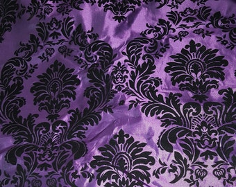 Purple and Black Flocked Damask Faux Silk Taffeta Fabric