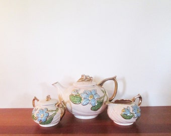 Hull Blue Magnolia Ceramic Teapot with Sugar and Creamer