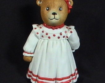 Vintage 1984 Schmid Gordon Fraser Porcelain Teddy Bear Figurine, Vintage Figurine, Teddy Bear Figure, Girl Bear Figurine, Bisque Bear
