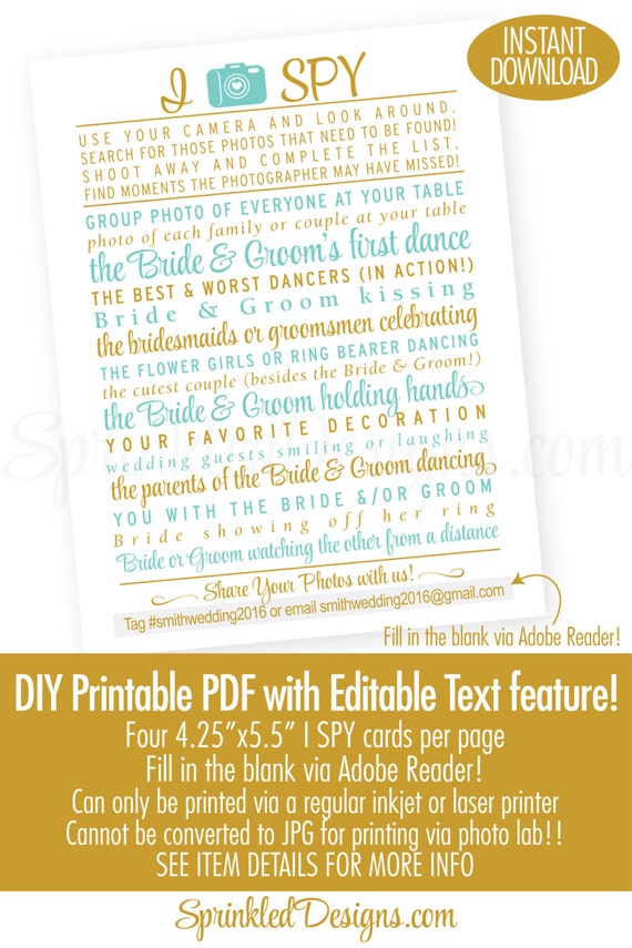 Wedding I Spy Game Printable Cards, Audrey Blue Gold Glitter Wedding ...