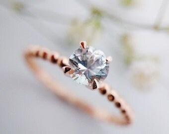 Rose Gold Engagement Ring, Rose Gold Ring, White Sapphire Engagement Ring, Sapphire Ring, Engagement Ring, Rose Gold Ring, Rose Gold Jewelry