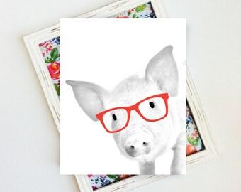 Farm Animal, Farm Animal Wall Art, Pig Print, Pig with Glasses, Pig Poster, Pig Wall Art, Nursery Farm Animal, 8x10, PRINTABLE Wall Art